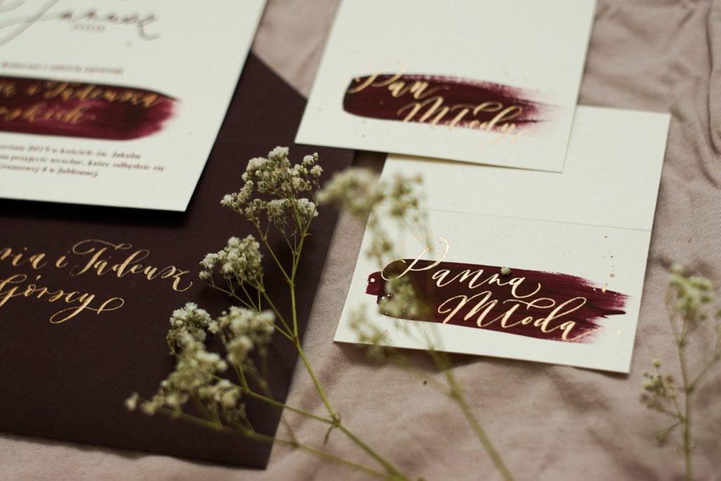 Klasyczne kaligrafowane zaproszenie ślubne - fix up studio