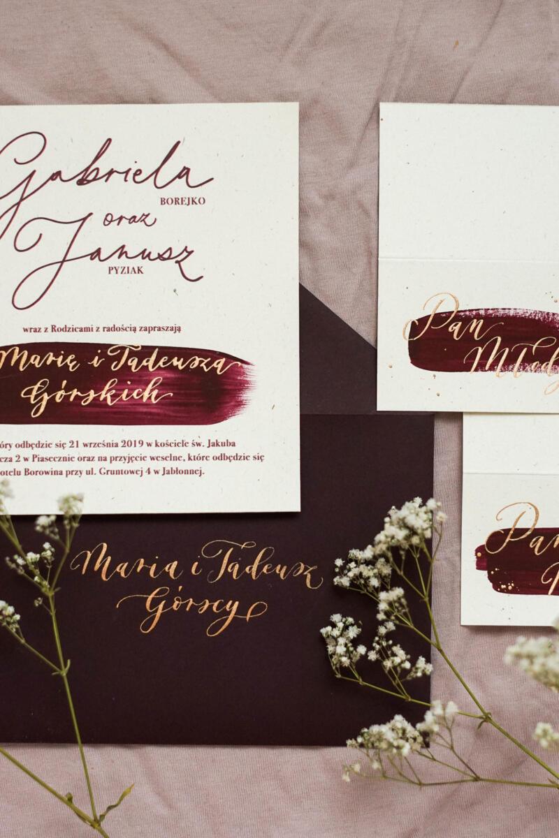 Eleganckie kaligrafowane zaproszenie ślubne - fix up studio