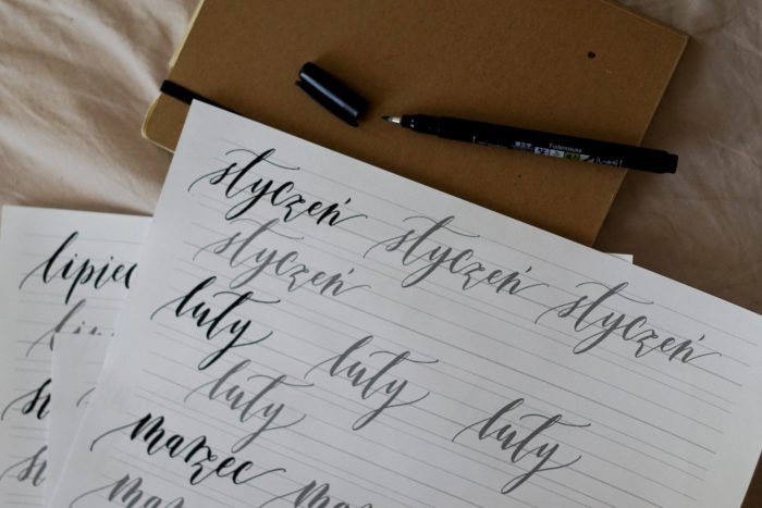 arkusz ćwiczeń brush pen