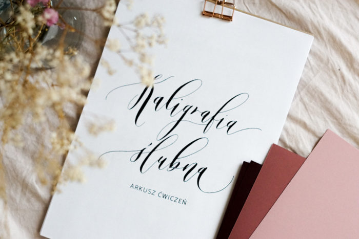 arkusz kaligrafii ślubnej